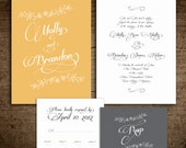 Yellow & Gray Wedding Invites