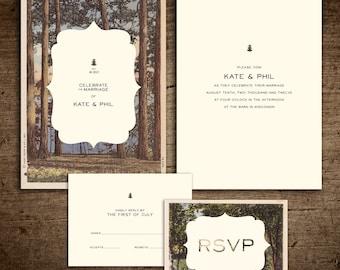 Rustic vintage postcard Wedding Invitation