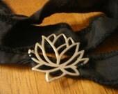 Black Silk Wrap Bracelet with Large Sterling Lotus
