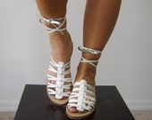 SALE...The Strappy White Leather Gladiator Sandals. 6.5 - 7 N