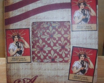 Ms. Liberty Americana Decoupaged Picture Frame
