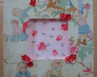 Chic Shabby Children Playing Decoupaged Picture Frame