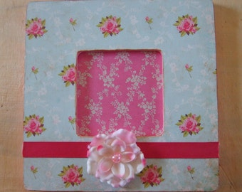 Shabby Cottage Pink Roses Decoupaged Picture Frame
