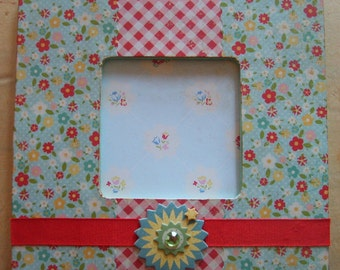 Flowers and Gingham Decoupaged Picture Frame