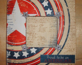 Americana Patriotic  Decoupaged Picture Frame