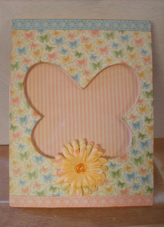 Peach Butterflies and Flowers Decoupaged Picture Frame