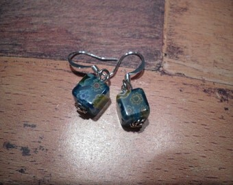 cute little blue millefiori cube earrings