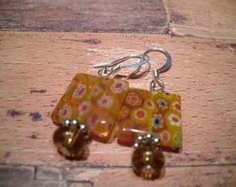 bright citrus orange millefiori glass earrings