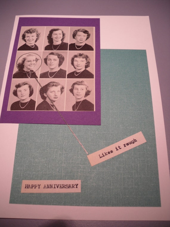 dirty.. sassy happy anniversary .. likes it rough.. funny vintage yearbook photo greeting card  5x7