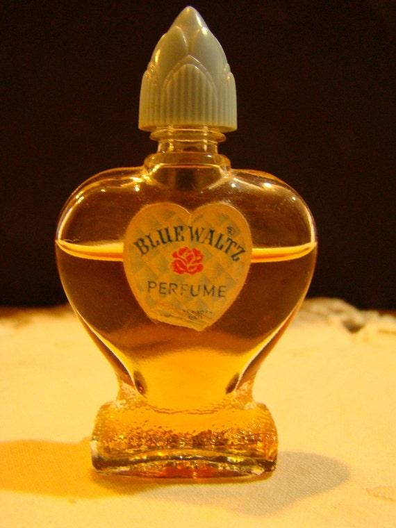 Vintage Miniature Blue Waltz Perfume Heart Shaped Bottle