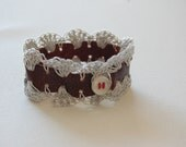 Silver Lace and Leather Cuff Bracelet