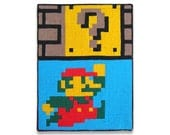 Mario Question Block Punch 6 x 8 Felt Collage