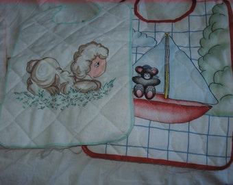 Unfinished Bibs (6) - cut out - quilted - cute - cotton - ready to embellish