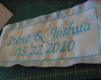 Something Blue  Bridal Label for inside your dress - Custom Wedding Label Embroidered with your NAME and DATE on Satin