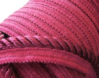 Trim Cording with lip Deep and rich Maroon - polyester - Maroon - 5 yards included - three eights wide - 20 available