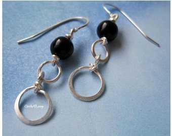 Black agate stone bead and double loops sterling silver earrings