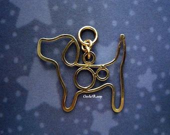 14K gold filled Beagle dog pendant