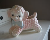 vintage 1950s LITTLE LOST LAMB shabby chic baby pink lamb ceramic planter