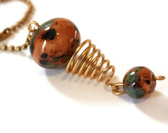 Decorative Chain Pull for Light or Fan - Amber Green and Gold
