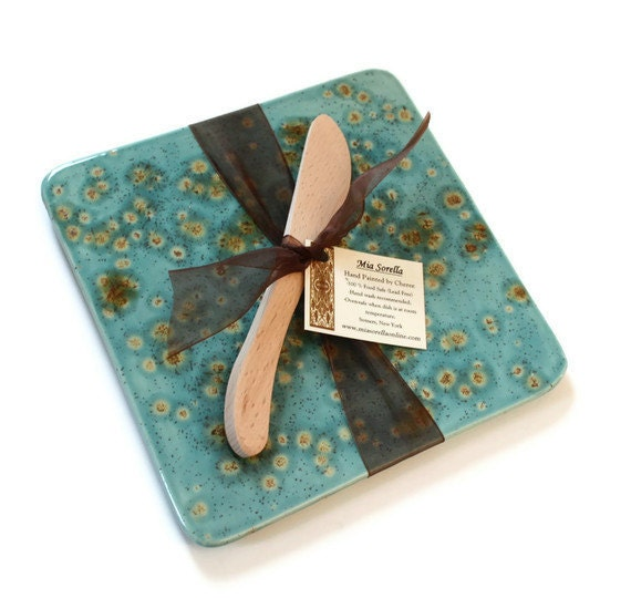 Kitchen Trivet and Cheese Server in Teal Blue - Ready to Ship