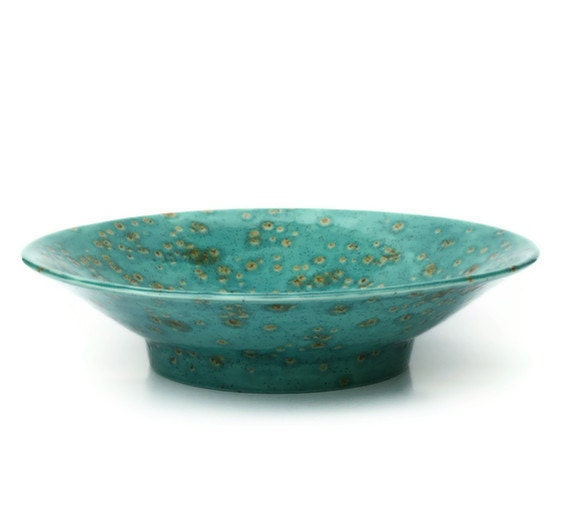 Flared centerpiece bowl teal blue and brown