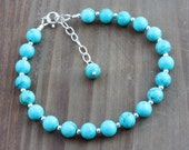 Turquoise Bracelet with Sterling Silver Accents