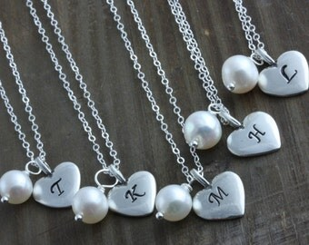 Bridesmaids Gifts, 5 Personalized Sterling Silver Heart and Fresh Water Pearl Necklaces, Bridal Discount