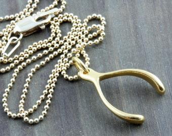 Make a WIsh, Gold Wishbone Necklace, Jennifer Aniston Inspired Necklace