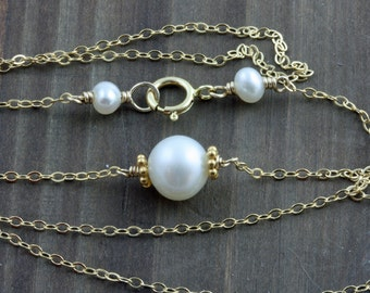 White Solitare Pearl Necklace on 14k Gold Filled