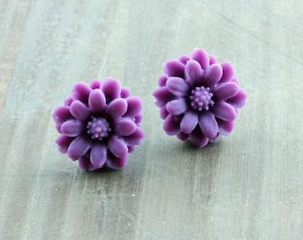 Little Purple Flower Studs, Flower Earrings, Purple Flower Post Earrings