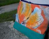 Zipper Pouch in Orange Flower and Teal