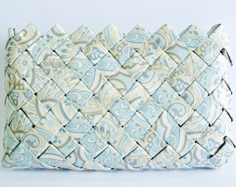 Baby Blue Paisley Makeup Bag / Clutch - Candy Wrapper Style