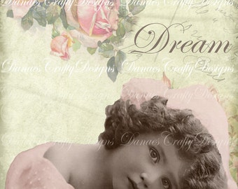 DREAM -  Instant Digital Download Printable - Victorian Child Collage -VC102  - Bonus Sheet My Treat