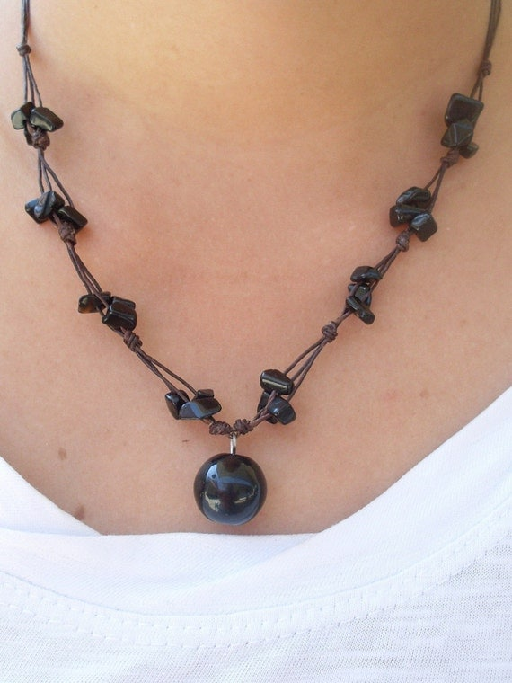 BLACK ONYX Gemstone Beaded Wax Cotton Pendant Choker Summer NECKLACE Thai Jewelry