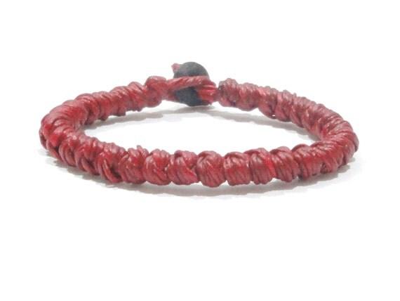 Knotted Red Mens Waxed Cotton Thai Wristband Bracelet Handmade Wristwear