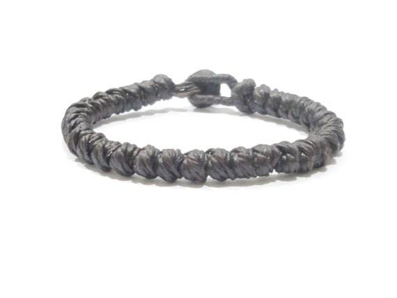 Fair Trade Brown Knotted Wax Cotton Thai Buddhist Wristband Bracelet Handcrafted Wristwear