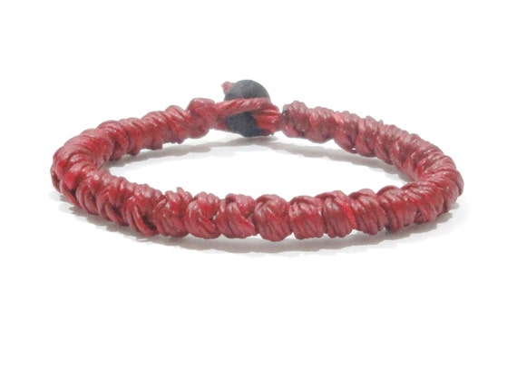 Classic Handcrafted FAIR TRADE Red Wax Cotton Thai Buddhist Wristband Bracelet Wristwear