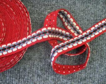 woven trim blue red and white