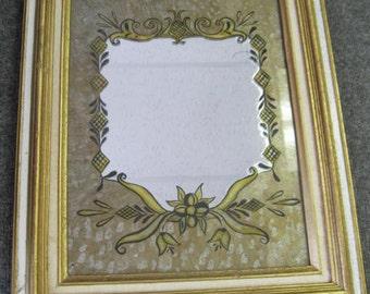 Reversed glass painting mirror