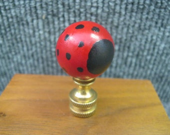 Finial for Lamp Shade - red and black wooden ball