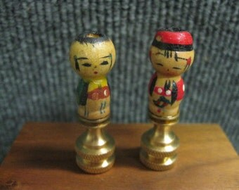 Pair of Antique Japanese Kokeshi Doll  Finials for Lamp shades