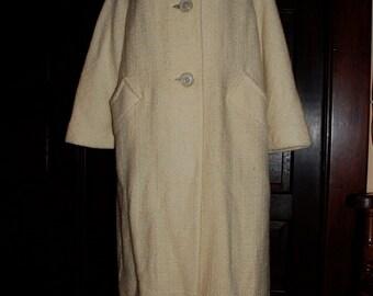 Cream Boucle Wool Coat