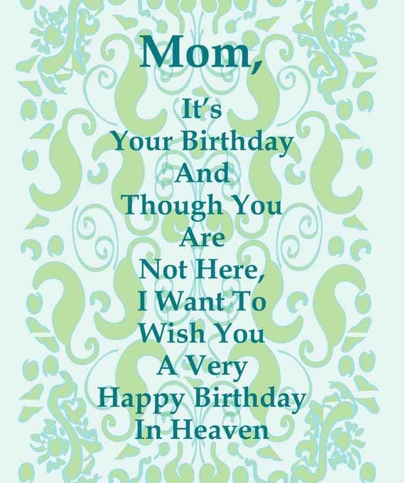 Happy Bday Mom Quotes: Items Similar To Happy Birthday Card To A Deceased Mom