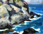 Little Maine Seascape. Original Framed Impressionist Oil Landscape Painting
