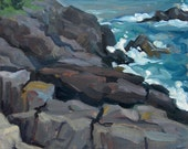 Rocky Coast, Maine.  8x8 Original Framed Oil Impressionist Landscape Painting