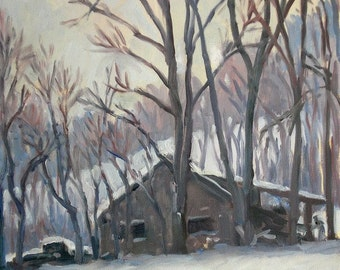 Snow Squall, Berkshires. 16x12 Oil on Canvas, Small Original Plein Air Impressionist Snowscape, 12x16 Strip Framed Oil Painting Landscape