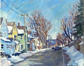 Snow Shine, Berkshires. Realist Oil Painting Landscape on Canvas, 12x12 Plein Air Impressionist Winter Scene, Signed Original Fine Art