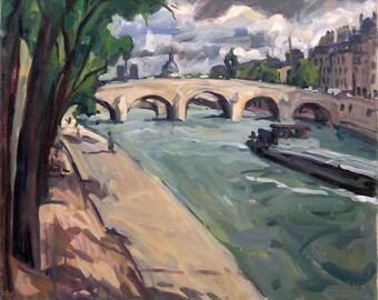 Paris, The Seine. 20x24 Original Realist Oil on Canvas, Impressionist Plein Air Landscape Painting, Signed Original Fine Art