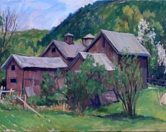 Barn Jumble, Sheep Hill, Berkshires. Large Oil on Canvas, 18x24 Plein Air Impressionist Oil Landscape Painting, Signed Original Fine Art