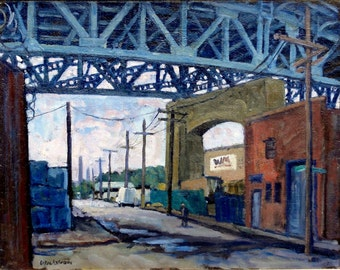 Late Afternoon under the Kosciuszko Bridge, Brooklyn. 14x18  Cityscape Oil Painting on Canvas, Framed, Signed Original Realist Fine Art